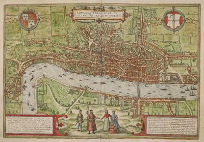 Hand-coloured view of London from Braun and Hoggenberg's opulent atlas of the world's cities, c. 1600–23