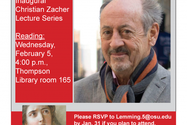 Flyer of Billy Collins. Reading: Wednesday, February 5, 4:00pm, Thompson Library room 165